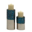 Woodland Imports Unique 2 Piece Metal Mosaic Candle Holder Set