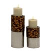 Woodland Imports Classy 2 Piece Metal Mosaic Candle Holder Set
