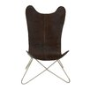 Woodland Imports Comfortable Leather Side Chair