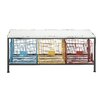 Woodland Imports Strongly Built Metal Wood Storage Kitchen Bench