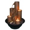 Woodland Imports Resin and Stone Tabletop with Three Candles Tiered Fountain