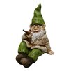 Woodland Imports Gnome Laying Down with Bird Statue