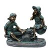 Woodland Imports Girl and Boy Playing on Teeter Totter Statue