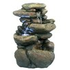 Fiberglass 3 Tier Rock Fountain with LED Light - Woodland Imports Indoor and Outdoor Fountains
