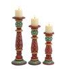 Woodland Imports 3 Piece Wood Candlestick Set