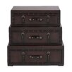 Woodland Imports Rich Design and Natural Texture Wooden Leather Trunk
