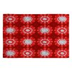 DENY Designs Julia Da Rocha Retro Flowers Red Area Rug