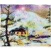 DENY Designs Ginette Fine Art Cabin In The Snow Plush Fleece Throw Blanket