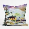 DENY Designs Ginette Fine Art Cabin In The Snow Throw Pillow