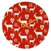 """DENY Designs Natt 12"""" Christmas Deer Wall Clock"""