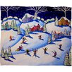 DENY Designs Renie Britenbucher Winter Skiing Fun Plush Fleece Throw Blanket