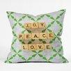 DENY Designs Happee Monkee Joy Peace Love Throw Pillow