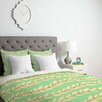 DENY Designs Jacqueline Maldonado Leaf Dot Stripe Mint Duvet Cover