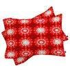 DENY Designs Julia Da Rocha Retro Red Flowers Pillowcase