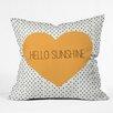 DENY Designs Allyson Johnson Hello Sunshine Heart Throw Pillow