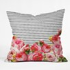 DENY Designs Allyson Johnson Bold Floral and Stripes Throw Pillow
