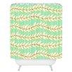 DENY Designs Jacqueline Maldonado Leaf Dot Stripe Mint Shower Curtain