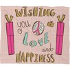 DENY Designs Heather Dutton Peace Love and Happiness Fleece Polyester Throw Blanket