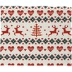 DENY Designs Natt Knitting Deer Let It Snow Hearts Fleece Polyester Throw Blanket