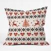 DENY Designs Natt Knitting Deer White Hearts Throw Pillow