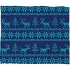 DENY Designs Natt Knitting Deer Fleece Polyester Throw Blanket