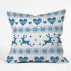 DENY Designs Natt Knitting Deer with Hearts Throw Pillow