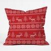 DENY Designs Natt Christmas Knitting Deer Throw Pillow