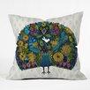 DENY Designs Sharon Turner Peacock Garden Throw Pillow