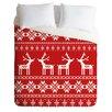 DENY Designs Natt Christmas Red Deer Duvet Set