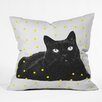 DENY Designs Elisabeth Fredriksson A Black Cat Throw Pillow