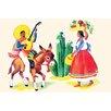 Buyenlarge 'Burro Rider Serenades La Senorita' Painting Print