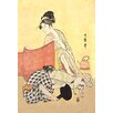 Buyenlarge Two Women and a Cat by Utamaro Painting Print