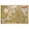 Buyenlarge Map of England by A. Ortelius Graphic Art