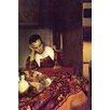 Buyenlarge 'A Woman Asleep' by Johannes Vermeer Painting Print