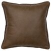 Wooded River Caribou Leather Throw Pillow