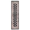 Herat Oriental Tribal Bokhara Hand-Knotted Black/Pink Area Rug