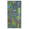 Brook Lane Rugs Playtime Road Map Grey/Green Area Rug