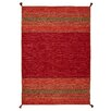 Brook Lane Rugs Kelim Hand-Woven Red Area Rug