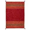 Brook Lane Rugs Handgewebter Teppich Kelim in Rot