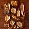 Two's Company 10 Piece Large Brass Foliage Dish Sculpture Set