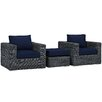 Modway Summon 3 Piece Deep Seating Group with Cushion