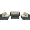 Modway Summon 7 Piece Outdoor Patio Sectional Seating Group with Cushion