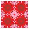 "Oscar & Izzy Folksy Love 4-1/4"" x 4-1/4"" Satin Decorative Tile in Kaleidoscope Pink-Red"