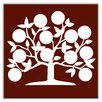 "Oscar & Izzy Folksy Love 4-1/4"" x 4-1/4"" Satin Decorative Tile in Tree of Life Burgundy"