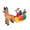 BZB Goods Christmas Inflatable Santa Claus with Reindeer Sleigh and Penguin Yard Decoration