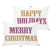 One Bella Casa Holiday Merry Christmas and Happy Throw Pillow