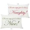 One Bella Casa Holiday Naughty or Nice Reversible Lumbar Pillow