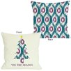 One Bella Casa Tis The Season Ikat Tree Reversible Throw Pillow