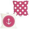 One Bella Casa Polka Dot Anchor Throw Pillow