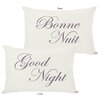 One Bella Casa Bonne Nuit or Goodnight Reversible Lumbar Pillow